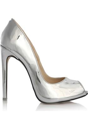 EsMODA Cc-1152 Gümüş Ayna Kadın Topuklu Ayakkabı
