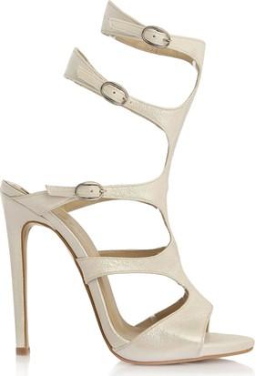 EsMODA Cc-1156 Beyaz Parlak Klasik Topuklu Ayakkabı
