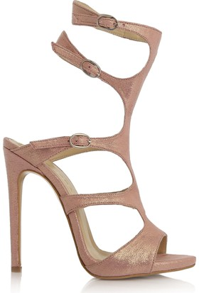 EsMODA Cc-1156 Pudra Parlak Klasik Topuklu Ayakkabı