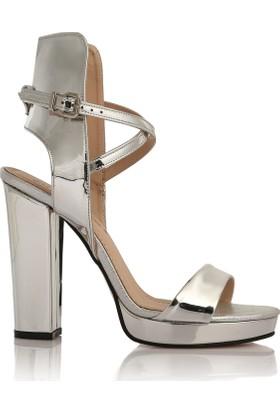 EsMODA Cc-129 Gümüş Ayna Kadın Platformlu Ayakkabı