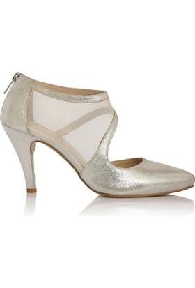 EsMODA Cc-191 Gümüş Simli Klasik Topuklu Ayakkabı