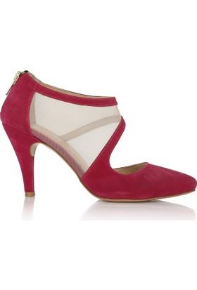 EsMODA Cc-191 Fuşya Süet Klasik Topuklu Ayakkabı