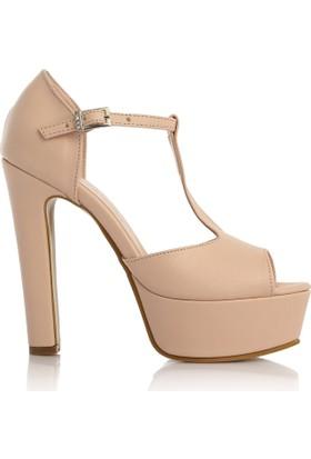EsMODA Cc-2012 Pudra Deri Kadın Platform Topuklu Ayakkabı