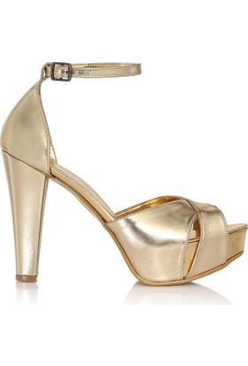 EsMODA Cc-2018 Altın Deri Platform Topuklu Ayakkabı