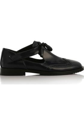 EsMODA Cc-2028 Lacivert Deri Kadın Günlük Ayakkabı