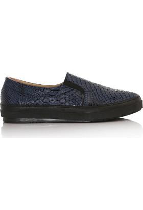 EsMODA Cc-2030 Lacivert Kroko Kadın Günlük Ayakkabı