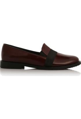 EsMODA Cc-2040 Bordo Deri Kadın Günlük Ayakkabı