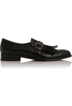 EsMODA Cc-2090 Siyah Deri Kadın Günlük Ayakkabı