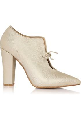EsMODA Cc-2100 Lite Altın Lavezzi Klasik Topuklu Ayakkabı