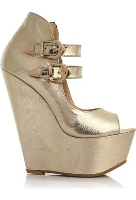 EsMODA Cc-3000 Altın Parlak Dolgu Topuklu Ayakkabı