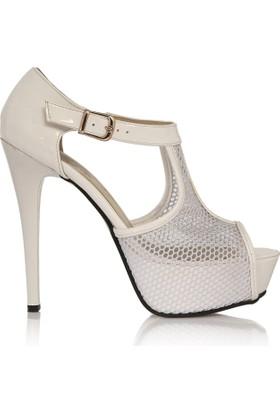 EsMODA Cc-4001 Beyaz Rugan Platform Topuklu Ayakkabı