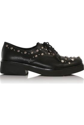 EsMODA Cc-505 Siyah Deri Kadın Günlük Ayakkabı