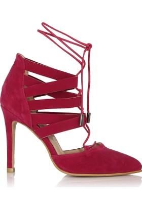 EsMODA Cc-555 Fuşya Süet Kadın Topuklu Ayakkabı