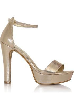 EsMODA Cc-6015 Altın Parlak Kadın Platformlu Ayakkabı