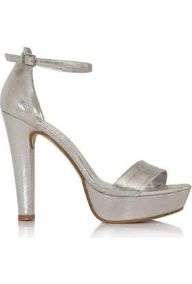 EsMODA Cc-6015 Gümüş Parlak Kadın Platformlu Ayakkabı