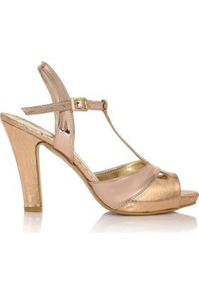 EsMODA Cc-668 Bronz Ayna Klasik Topuklu Ayakkabı