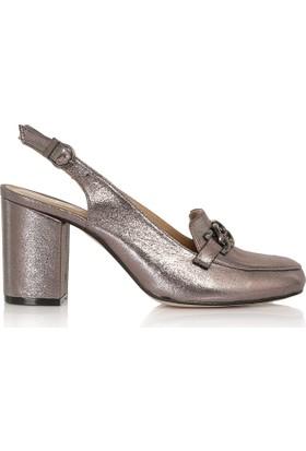 EsMODA Cc-6725 Antrasit Parlak Klasik Topuklu Ayakkabı