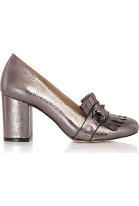 EsMODA Cc-6745 Antrasit Parlak Klasik Topuklu Ayakkabı