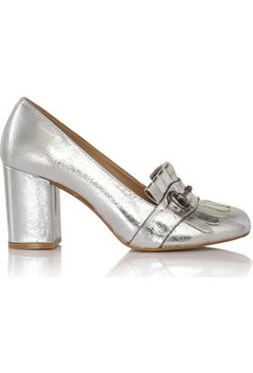 EsMODA Cc-6745 Gümüş Parlak Klasik Topuklu Ayakkabı