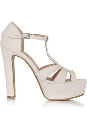 EsMODA Cc-675 Beyaz Deri Platform Topuklu Ayakkabı