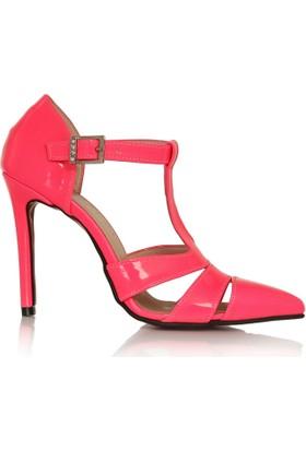 EsMODA Cc-713 Fuşya Neon Klasik Topuklu Ayakkabı