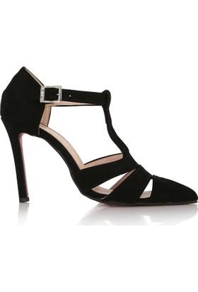 EsMODA Cc-713 Siyah Süet Klasik Topuklu Ayakkabı