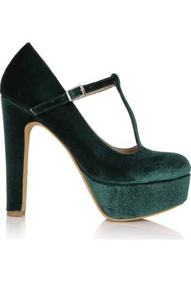 EsMODA Cc-814 Yeşil Kadife Kadın Platformlu Ayakkabı