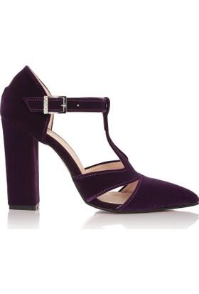 EsMODA Cc-855 Mor Süet Klasik Topuklu Ayakkabı