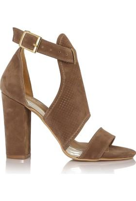 EsMODA Cc-890 Vizon Süet Kadın Topuklu Ayakkabı