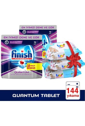 Finish Powerball Quantum Bulaşık Makinesi Deterjanı 144 Tablet (72 x 2) + 3 Adet Uni Wipes