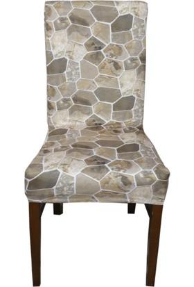 Akçağ Koltuk Örtüsü Sandalye Kılıfı Likralı Desenli Mermer Desen