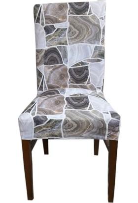 Akçağ Koltuk Örtüsü Sandalye Kılıfı Likralı Desenli Granit