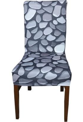 Akçağ Koltuk Örtüsü Likralı Desenli Sandalye Kılıfı Dere Taşı