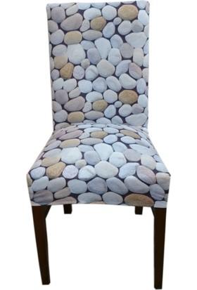 Akçağ Koltuk Örtüsü Likralı Desenli Sandalye Kılıfı Çakıl