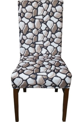 Akçağ Koltuk Örtüsü Likralı Desenli Sandalye Kılıfı Kahve Taşı