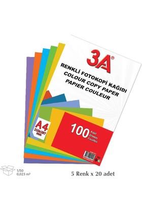 Tekreyonda 3A Renkli Fotokopi Kağıdı A4 Boyutunda 5 Renk 100 Adet Kağıt