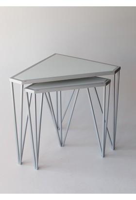 Metal Tasarım Zigon Sehpa Üçgen 2'li Set Gri