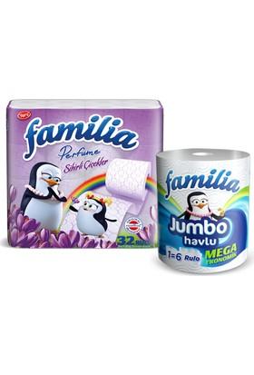 Familia Parfumlu Tuvalet Kagıdı Sıhırlı Cıcek 32'li + Familia Jumbo Havlu