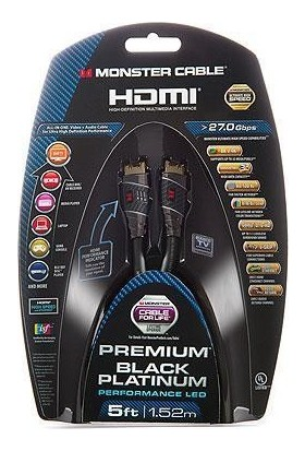 Monster HDMI Kablo Black Platınum High Speed 5M