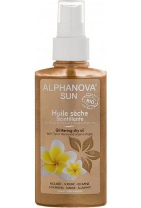 Alphanova Organik Işıltılı, Kuru Vücut ve Saç Yağı - güneş etkisini uzatmak ve besleyici bakım için, 125 ml.