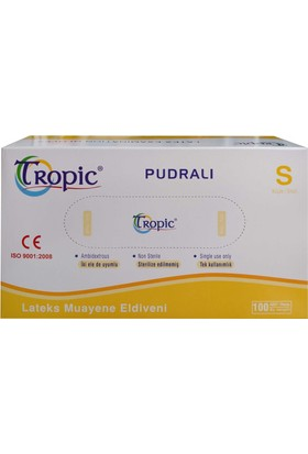 Tropic Pudralı Lateks Muayene Eldiveni S (100'lü Paket )