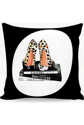 Dekorinyo Chanel Leopar Ayakkabılar Kırlent Kılıfı
