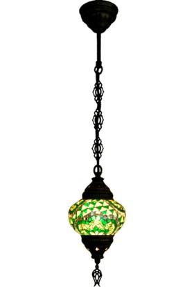 Otantik Osmanlı Dekoratif Mozaik Tek Zincir Askılı Lamba (No:2)