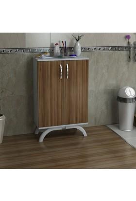 Kalender Dekor Bonita Çok Amaçlı Banyo Dolabı (Ceviz-Beyaz)