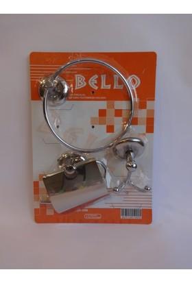 Bello 3'lü Set ( Kapalı Wc Kağıtlık + Yuvarlak Havluluk + Çiftli Bornozluk )
