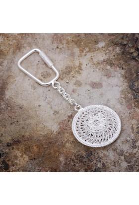 Sümer Telkari Telkari İşlemeli Gümüş Anahtarlık 59