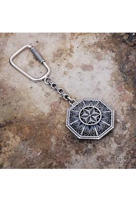 Sümer Telkari Telkari İşlemeli Gümüş Anahtarlık 62