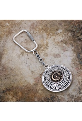 Sümer Telkari Ay Yıldız Ve Osmanlı Tuğralı Telkari İşlemeli Gümüş Anahtarlık 83