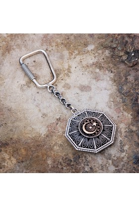 Sümer Telkari Ay Yıldız Ve Osmanlı Tuğralı Telkari İşlemeli Gümüş Anahtarlık 92