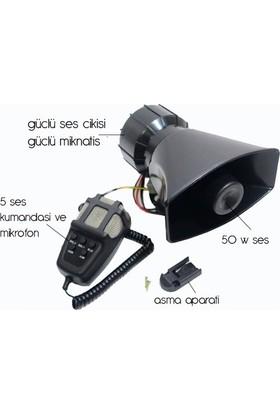 5 Sesli Mikrofonlu Siren 100W 12V CSEK053